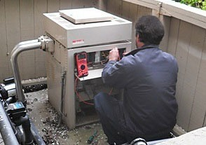 Servicing a pool heater